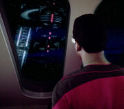 Geordi inspects Edo god