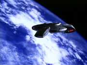 USS Defiant orbiting Earth