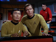 Sulu, Kirk and Scott, 2266