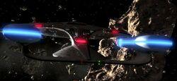 USS Enterprise (NCC-1701-D) enters asteroid field