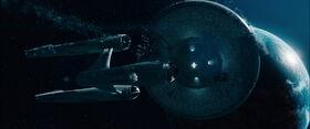 USS Enterprise falling to Earth