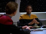 Paris and Tuvok in mess hall