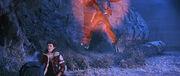 Phaser blast throws Klingon