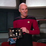 Picard displays Data's medals