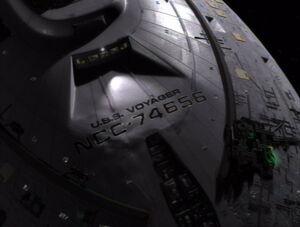 USS Voyager experiencing molecular decohesion