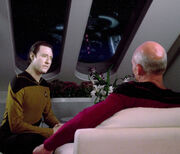 Data and Picard discuss Prime Directive