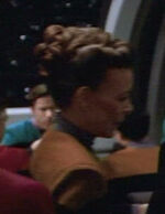 Female engineer in mess hall, 2371