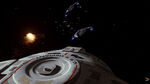 USS Defiant closes on a Jem'Hadar fighter