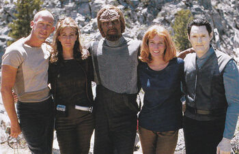 Sklar (left) with fellow stunt doubles filming <i>Star Trek Insurrection</i>