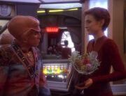 Quark giving Kira Nerys Bajoran lilacs