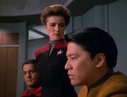 Janeway consoles Kim