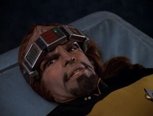 Worf in sickbay, 2370