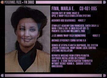 "Finn's <a href=""/wiki/Personnel_file"" title=""Personnel file"">personnel file</a>"