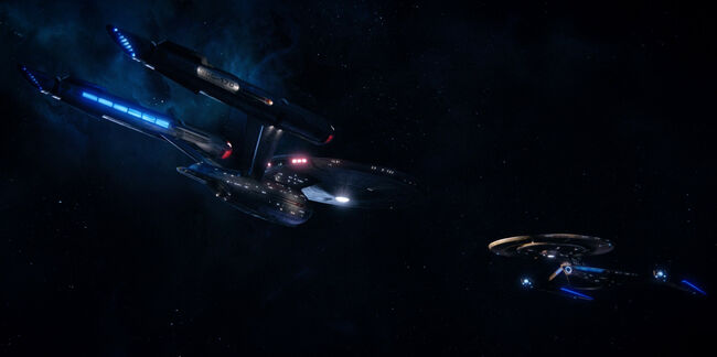 USS Discovery rendezvousing with USS Enterprise