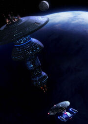 USS Enterprise-D approaches a Spacedock type station