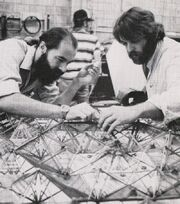 David Beasley and Grant McCune working on the enlarged panel section of Epsilon IX station