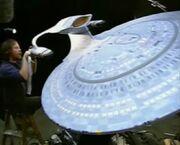 USS Enterprise-D six-foot studio model nearing the end of its refurbishment