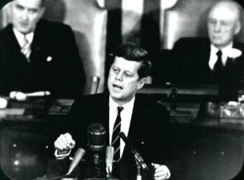 "John F. Kennedy giving his ""Decision to Go to the Moon"" speech."