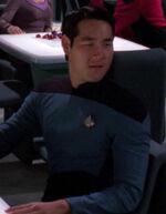 Male science officer in ten forward, 2370