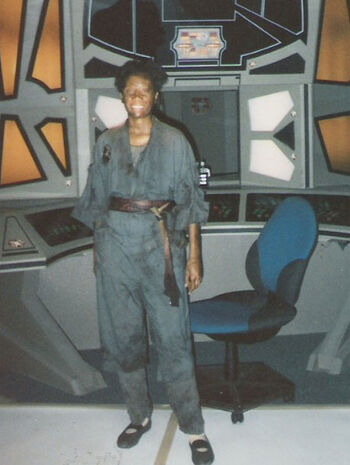 "McCoy on the set of ""Through the Looking Glass"""
