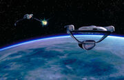 Klingon Bird-of-Prey fires on USS Grissom