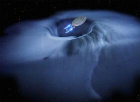 USS Enterprise-D consumed by energy vortex