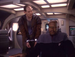 Sisko and Edington talking on a Runabout (DS9)