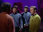 Zefram Cochrane meeting Kirk, Spock and McCoy
