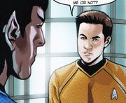 Countdown to darkness, Spock et Kirk discutant de la prime directive