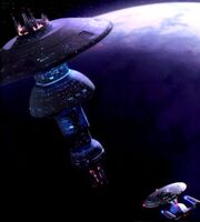 USS Enterprise-D approaches an Earth Spacedock type starbase