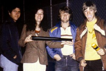 """...and (2nd right) with his """"dumpster diving"""" team at ILM's Van Nuys facility, flanked on his left by Lisa Morton ca. 1978"""