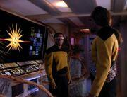 La Forge und Worf im Maschinenraum