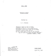 Friday's Child Script Title Page