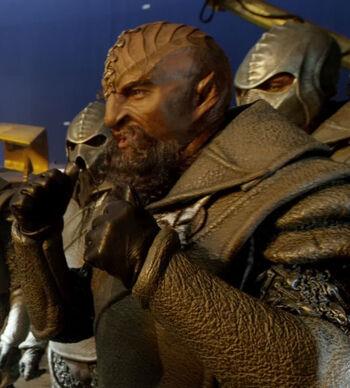 Tarabay as a Klingon behind the scenes