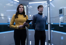 Una and Spock in the turbolift
