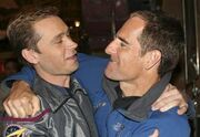 Scott Bakula hugs Connor Trinneer