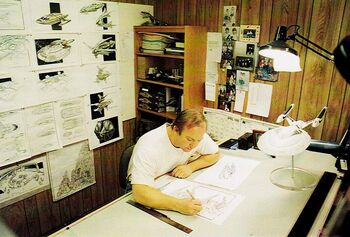 Eaves in his office at work on <i>Insurrection</i>