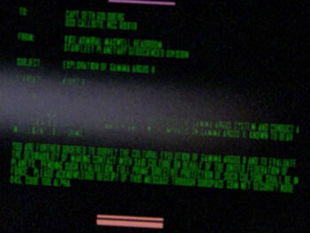 "Starfleet Command order received by the USS <i>Callisto</i> in <a href=""/wiki/2364"" title=""2364"">2364</a>"