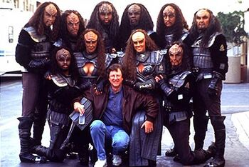 ...and surrounded by Klingons on the set of <i>Generations</i>
