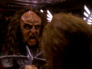 Gowron and Worf battle