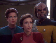 Jadzia Dax, Kira Nerys, and Worf, 2372