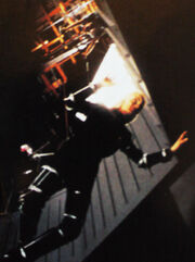 Daphne Ashbrook hangs above the set of Melora on wires