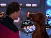 Q verwandelt Crusher in einen Hund