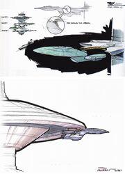 USS Enterprise-D docking concept by Andrew Probert