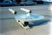 USS Enterprise eleven foot model upon delivery, dorsal bow view