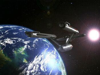 The USS Enterprise in orbit of Beta XII-A in 2268