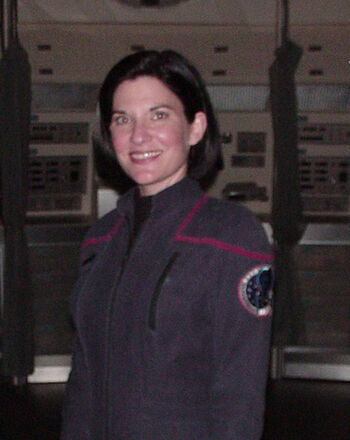 Cynthia Uhrich on the set of <i>Star Trek: Enterprise</i>