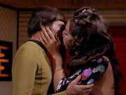Pavel Chekov and Irina Galliulin kiss