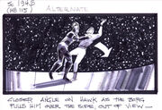 Storyboard of Hawk being assimilated in First Contact