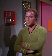 James T. Kirk listens to intercom